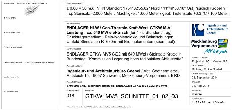 Schriftfeld GTKW 5.3 Endlager hoch radioaktive Abfallstoffe Endlagerbehälter im Tiefsalz südlich Kröpelin M-V BRD