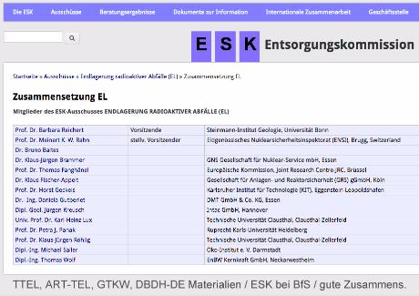 ESK Entsorgungskommission Deutschland beim BfS / Vorsitz Michael Sailer / Architekt Ing. Goebel