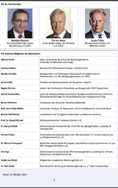 Mitglieder KFK Kommission BMWi Finanzierung Atomausstieg Endlagerung