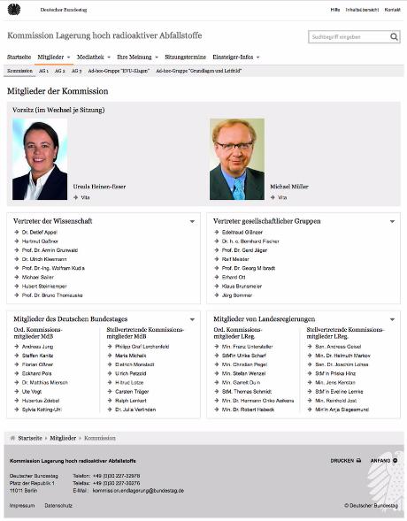 Mitglieder Kommission Bundestag Lagerung hoch radioaktiver Abfallstoffe 2014 - 2016