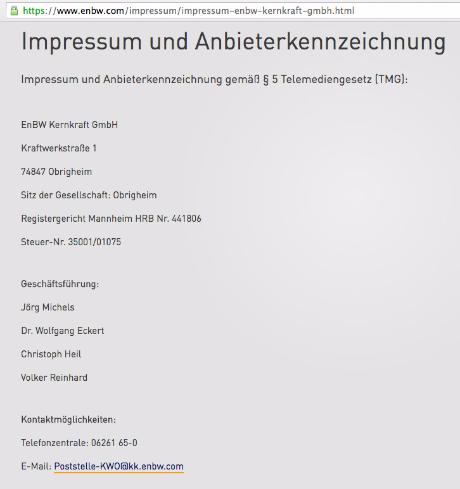 Geschäftsführung EnBW Kernkraft GmbH