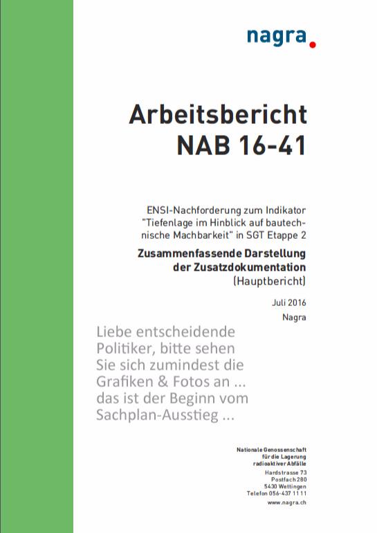 Sachplan Endlagerung Nagra Schweiz scheitert August 2016