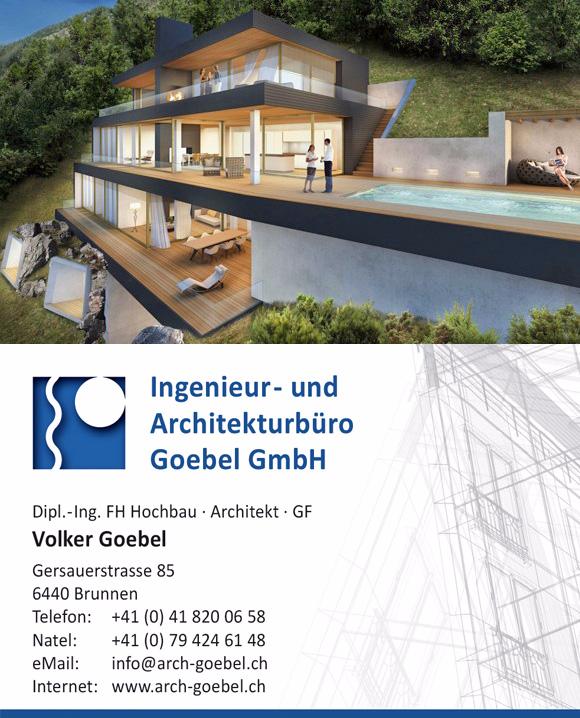 Visitenkarte Architekt Goebel Brunnen Schweiz Wohnungsbau