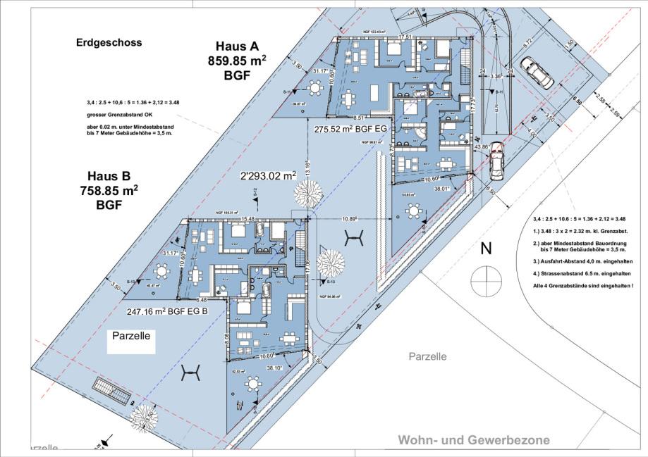 Grundriss Erdgeschoss Terrassen Häuser Ruggell Liechtenstein