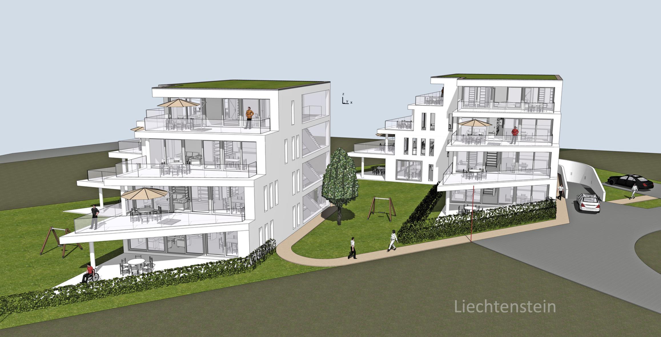 Neubau Terrassen Häuser Stockwerkeigentum Ruggell Liechtenstein