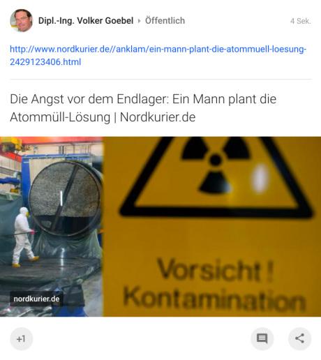 Nordkurier Endlager - Ein Mann plant die Atommüll-Lösung