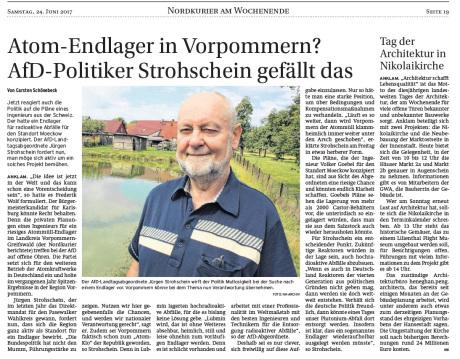 Endlager Moeckow / Landtagsabgeordneter Strohschein spricht sich dafür aus