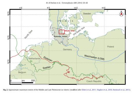 Eiszeiten Grenzen Nord-Ost Deutschland Karte / Map glacier times Germany