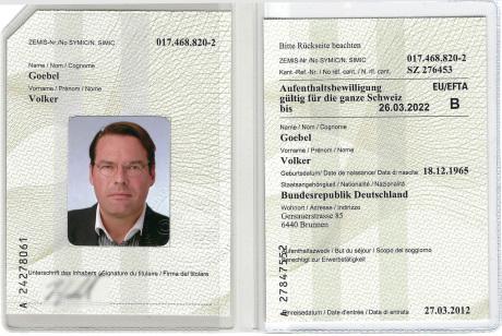Ausweis Schweiz, Volker Goebel Architekt Dipl.-Ing.