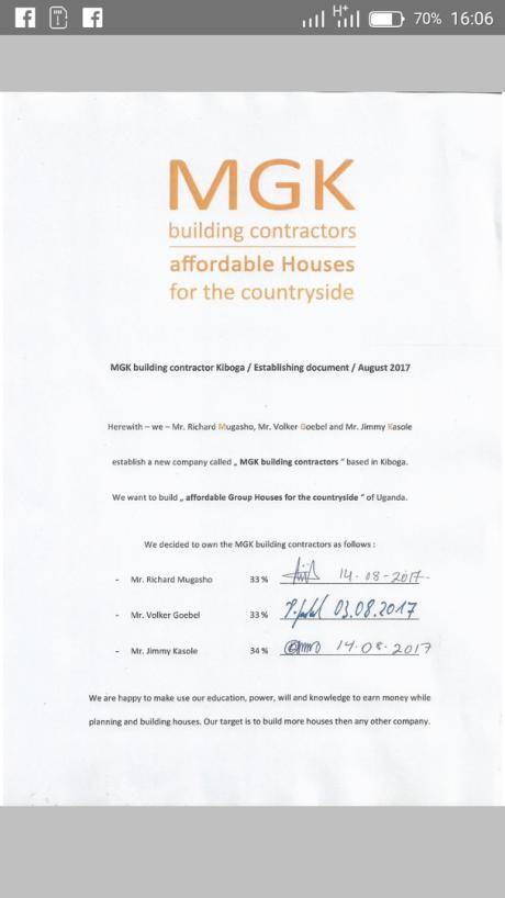 Company establishing document MGK building contractors