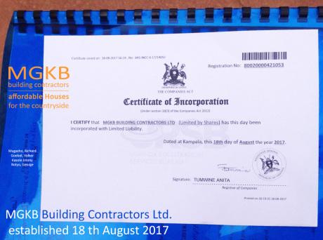 URSB Certificate of Incorporation of MGKB building contractors Ltd Uganda