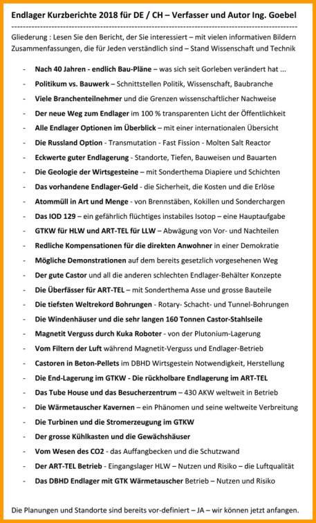 Endlager Kurzberichte 2018 vom Endlager Fachplaner Dipl.-Ing. Volker Goebel Architekt