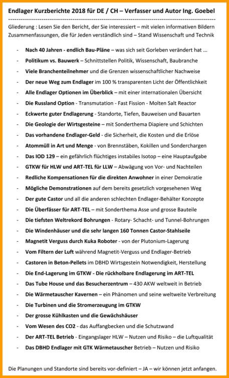 BGE GmbH Peine Endlager Kurzberichte 2018 vom Endlager Fachplaner Dipl.-Ing. Volker Goebel Architekt