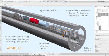 Oben im Bild - die Überfässer mit den ca. 300.000 m3 Asse Resten aus der Asse Räumung - das ART-TEL begann als Asse-Reste-Tief-Tunnel-End-Lager    die Überfässer 400 Liter wurden in 2015/2016 extra für den aus der Asse zu bergenden Atommüll von Fa. Mayer