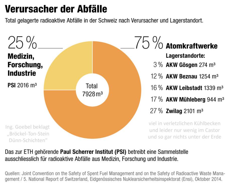 Atommüll Schweiz ohne Endlager - alles in Lagerbecken, zu wenig im Castor