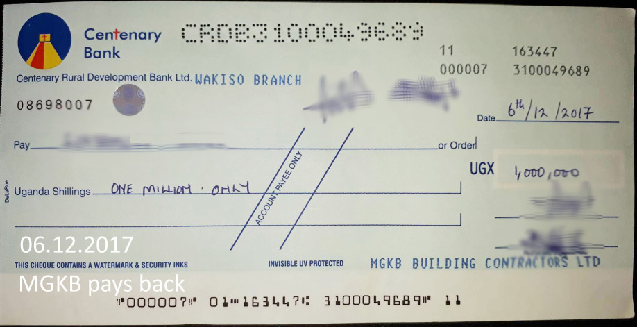 Bank cheque 1 Mio. UGS issued by MGKB Ltd.