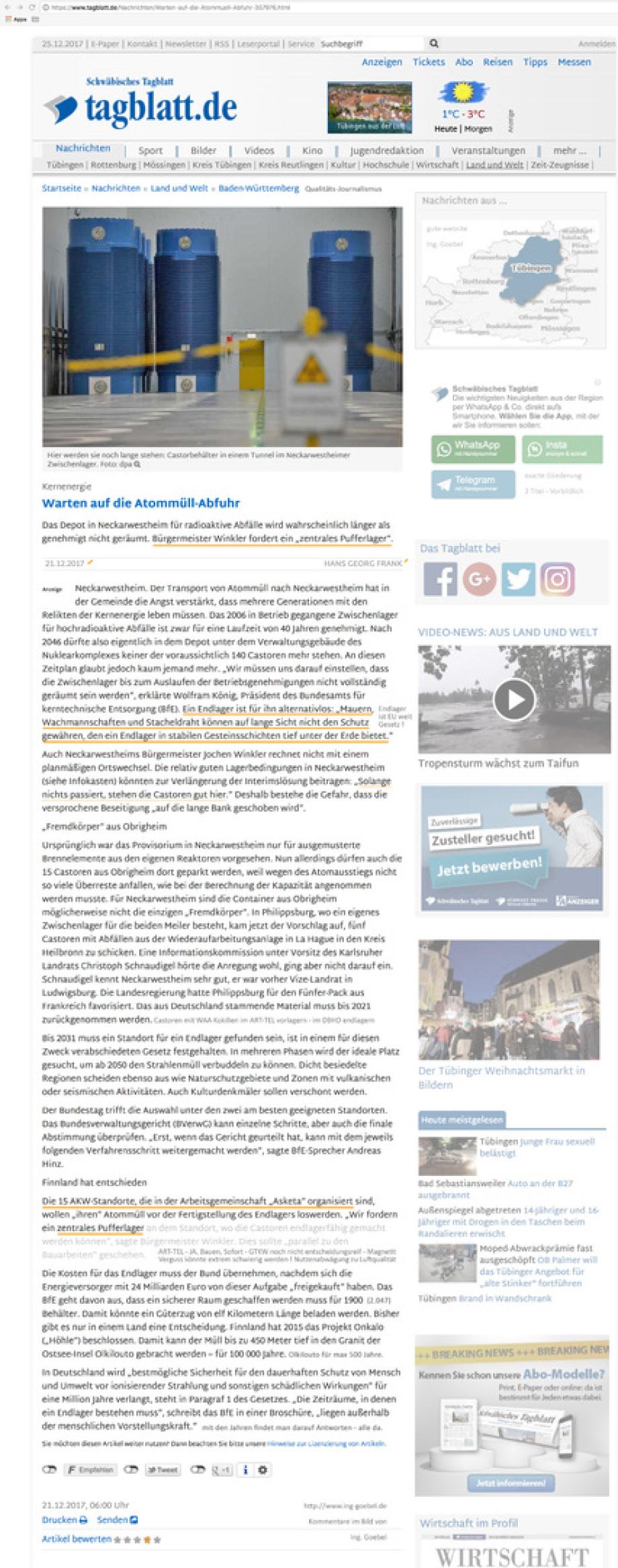 Artikel im Schwäbischen Tagblatt - Warten auf die Atommüll-Abfuhr Phillipsburg / Obrigheim