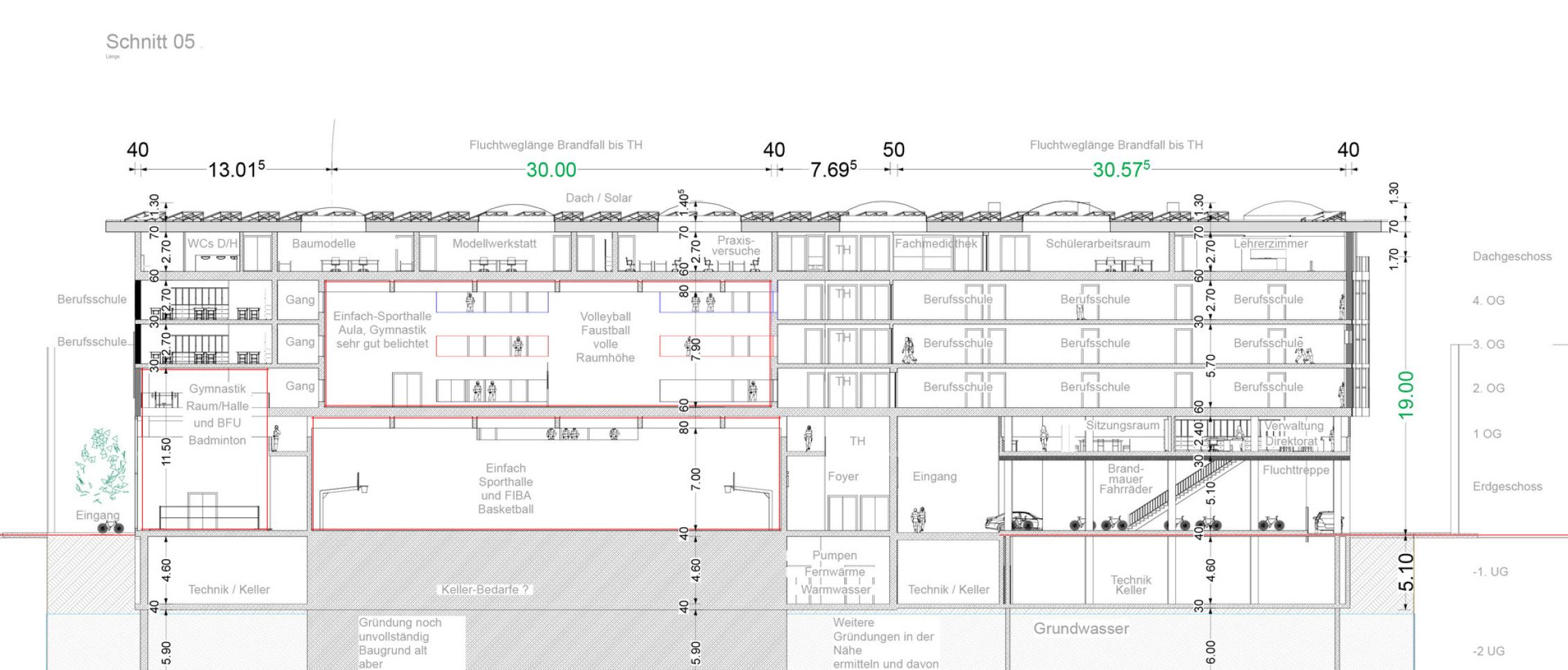 Schnitt 02 Baugewerbliche Berufsschule Zürich - Wettbewerbs-Beitrag - Architekt Volker Goebel Dipl.-Ing.