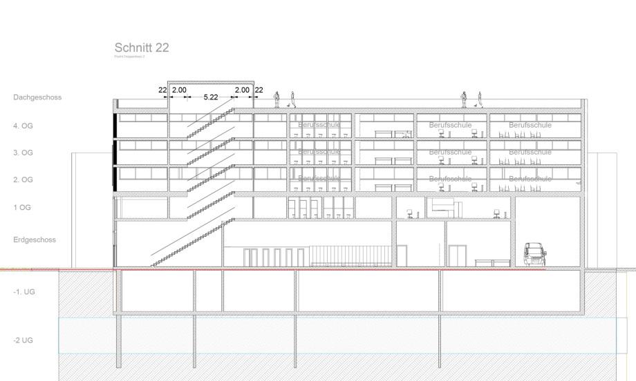 Schnitt 22 Baugewerbliche Berufsschule Zürich - Wettbewerbs-Beitrag - Architekt Volker Goebel Dipl.-Ing.