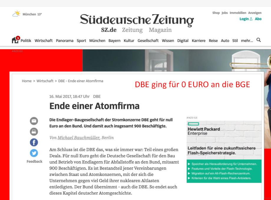 DBE Wert 0 Euro - DBE gleich BGE GmbH