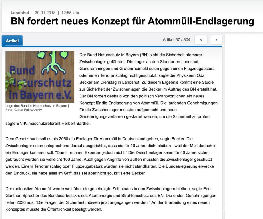 BUND Bayern fordert neues Konzept für Atommüll-Lagerung Oda Becker Physikerin