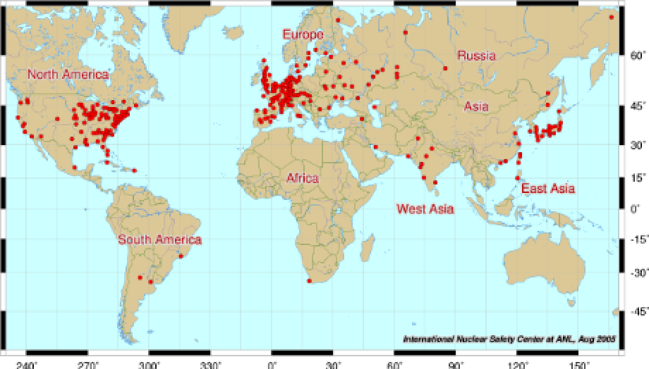 world map of all nuclear power plants