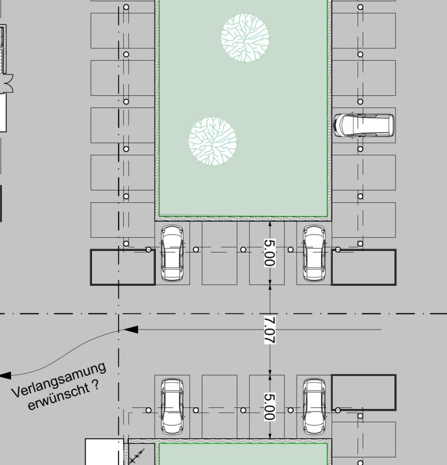Parkfelder in der Tiefgarage in Relation zu den notwendigen Stützen unter den Wänden der darüber stehenden Gebäude - Abmessungen Fahrgasse