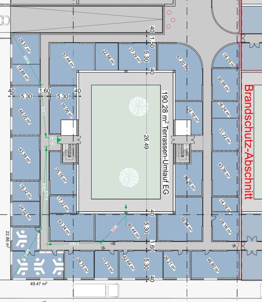 Mögliche Aufteilung der Büro-Flächen in Büroräume unter Berücksichtigung der 35 Meter Fluchtwege