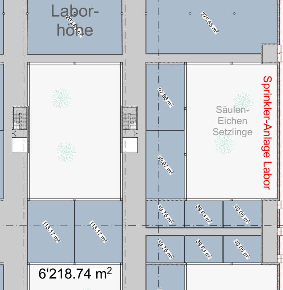 Mögliche Flächen-Raum-Aufteilung in der Labor-Ebene - hohe Flexibilität der Wände dort