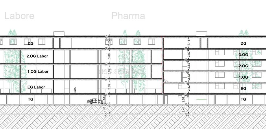 5 Geschosse auf der Labor-Seite zu 6 Geschossen auf der Büro-Seite - Geschosshöhe Büro 2.82 Meter - Geschosshöhe Labor 3.69 Meter