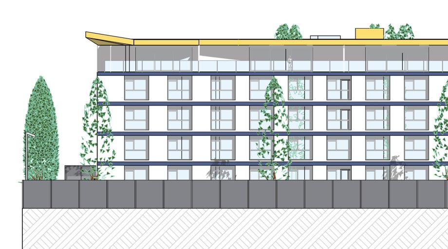 Gebäude-Ecke des Pharma Business Centers mit dem markanten Flachdach - Nützliche, preiswerte Fassade mit guter Befensterung
