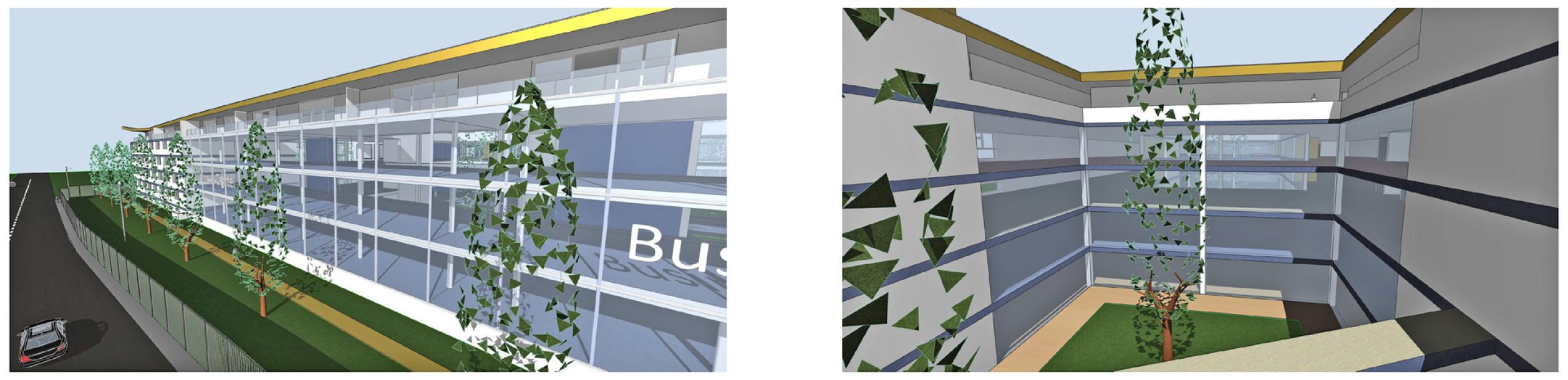 Glas Fassade Labor-Bereich und Atmosphäre Innenhof mit Säulen Eichen und Kunst-Brücken