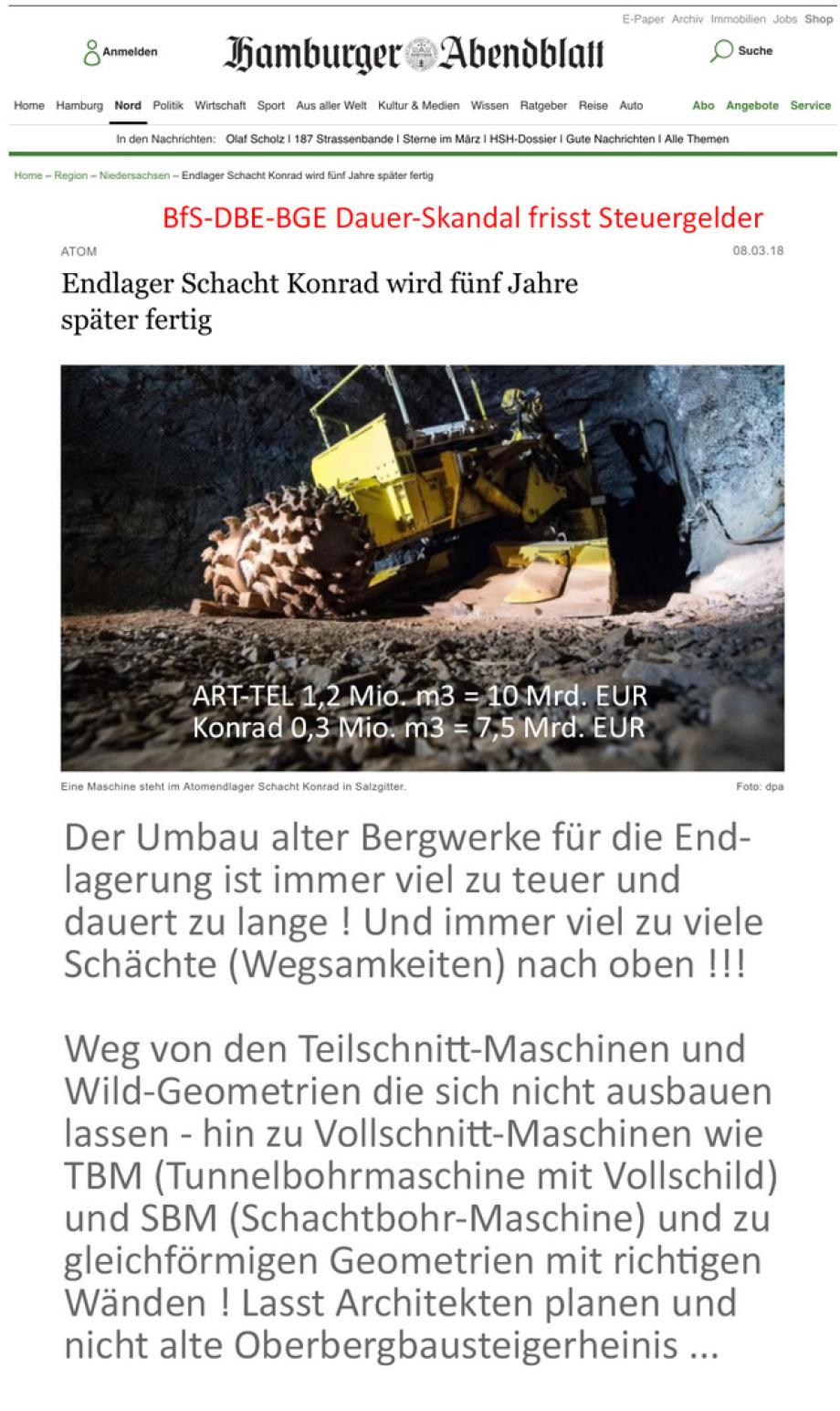 BfS DBE Gmbh BGE GmbH Konrad Endlager Skandal
