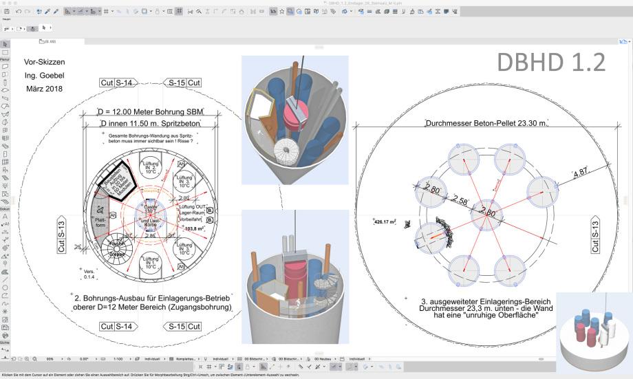 Beginn Werkplanung Ausbau 12 Meter Bohrung für Einlagerungsbetrieb DBHD 1.2 - für BGE GmbH Endlager - für Herrenknecht AG - für BFE Berlin