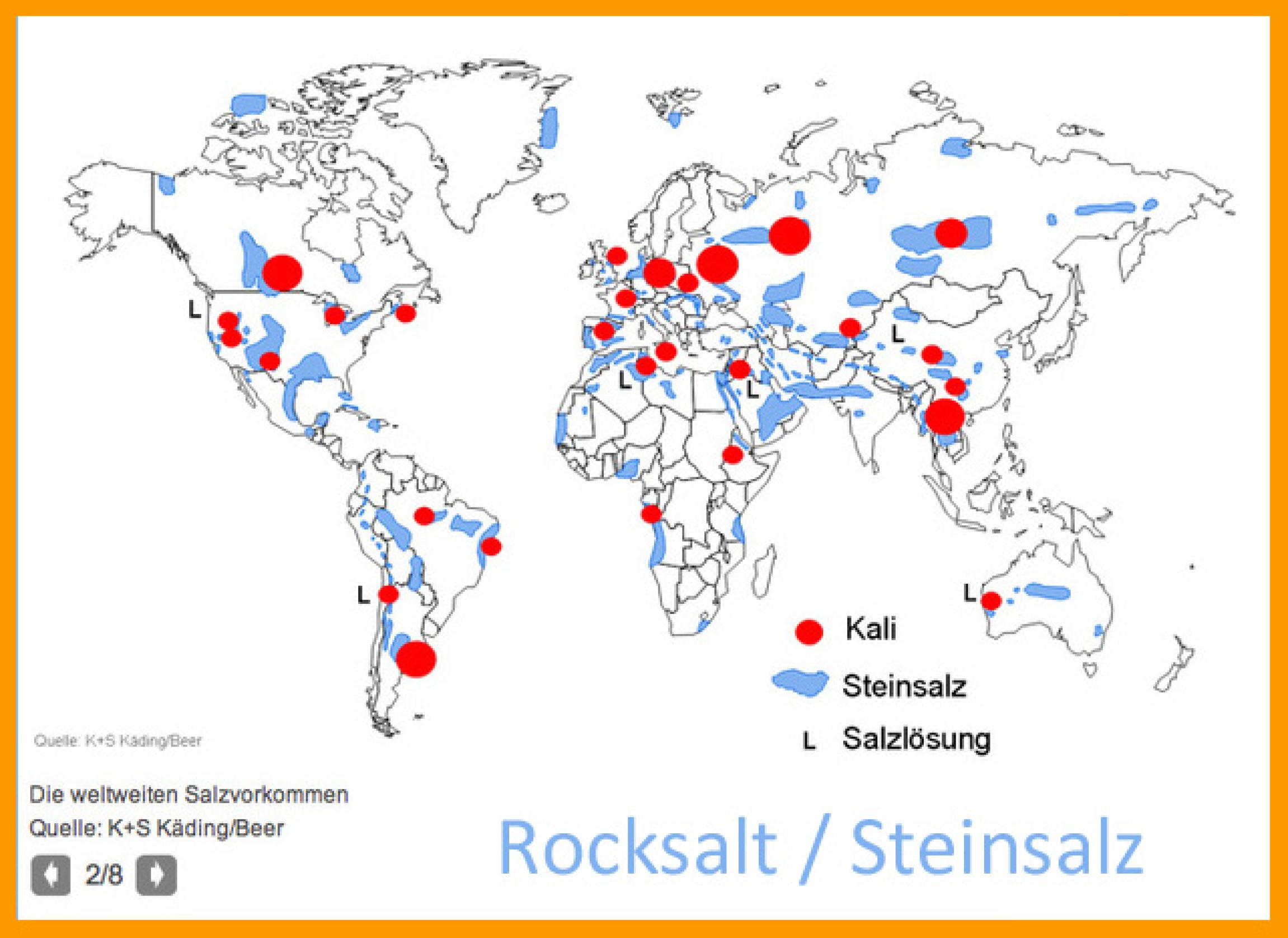 Steinsalz Weltkarte für DBHD und ART-TEL Endlager weltweit nuclear waste disposal map
