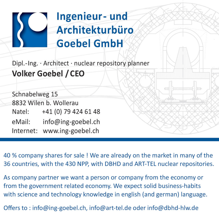 Company Shares Offer - Businesscard Volker Goebel Nuclear Repository Planner HLW