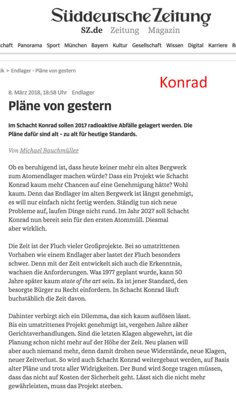 BGE GmbH Peine - Endlager Konrad - Pläne von vor 50 Jahren - Süddeutsche Zeitung