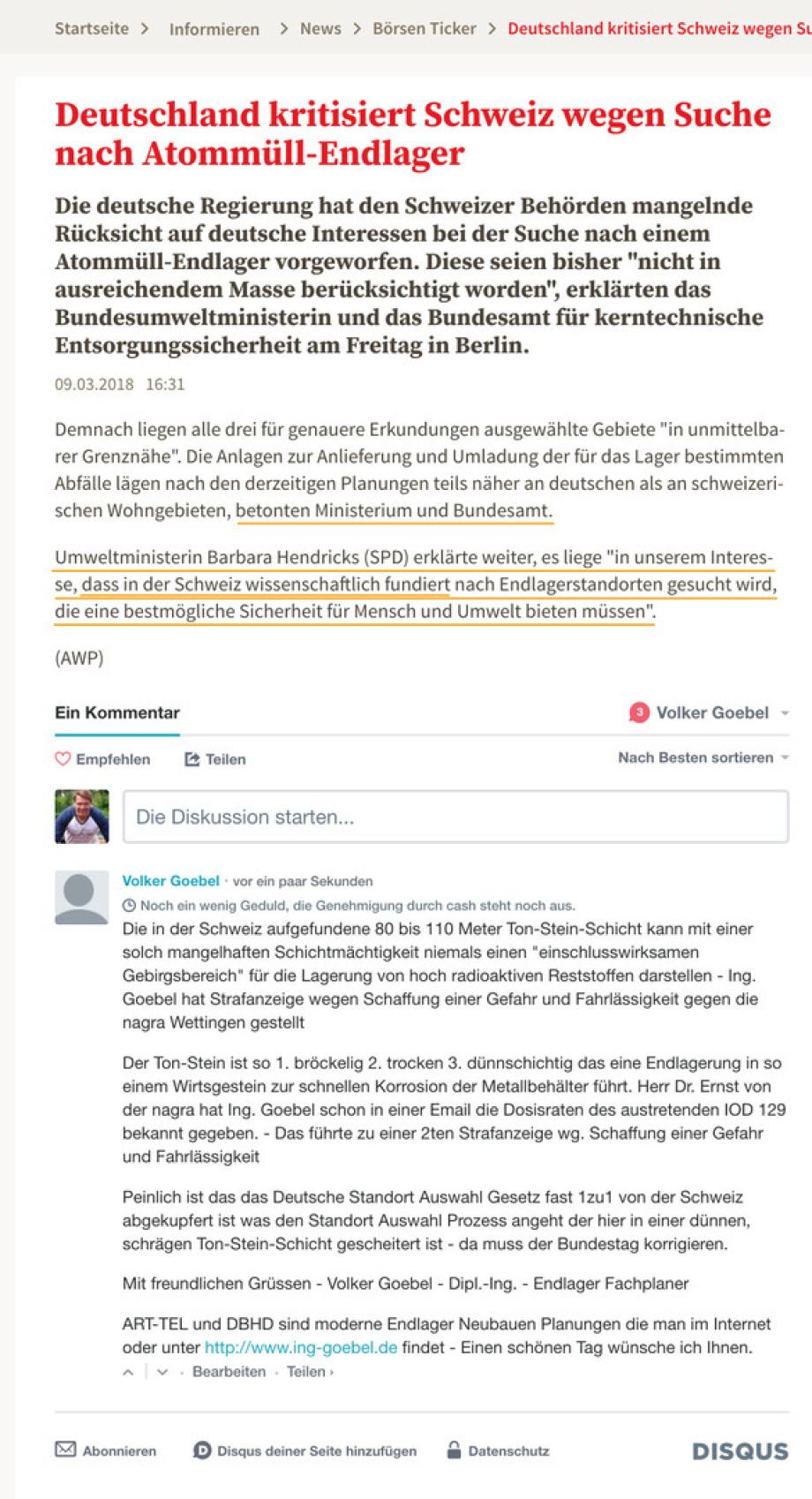 Bundesumweltministerin Dr. Hendricks und das Bundesamt für kerntechnische Entsorgung kritisieren die Schweiz für ein wissenschaftlich nicht fundiertes Vorgehen in Sachen Endlager / Sachplan stoppen / nagra abwickeln