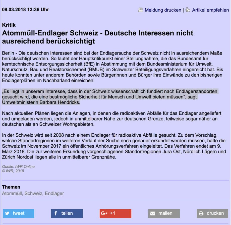 Deutschland kritisiert die nagra Planungen