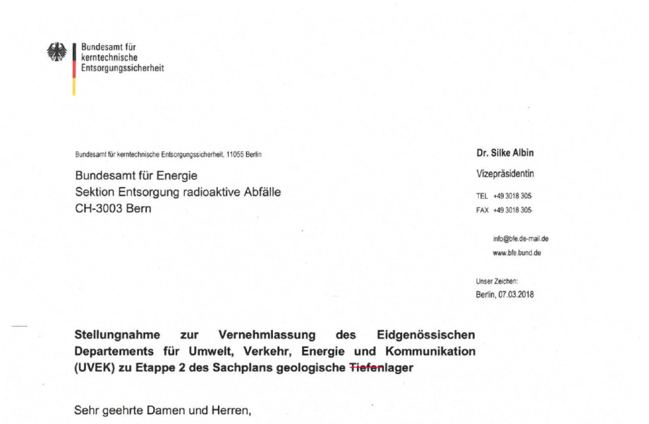 BFE Brief zum Vernehmlassungs Verfahren Etappe 2 Endlagerung Schweiz nagra