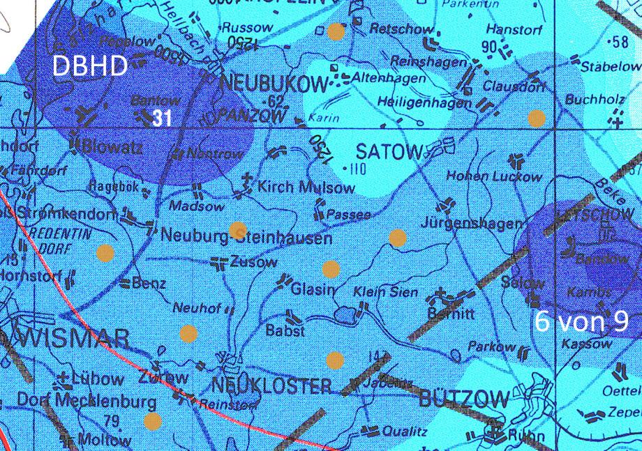 6 Standorte für DBHD DE+CH um die 21 MW/sec Restzerfallswärme gut in die Steinsalzplatte einzuleiten