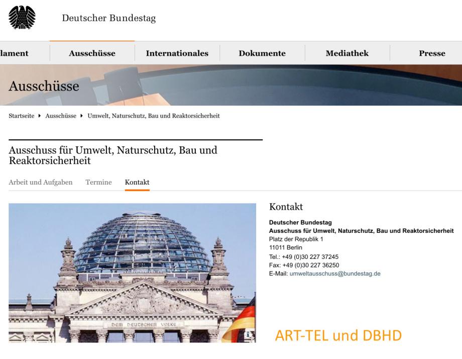 Ausschuss für Umwelt, Naturschutz, Bau und Endlager und Reaktorsicherheit Bundesrepublik Deutschland Bundestag Mitglieder