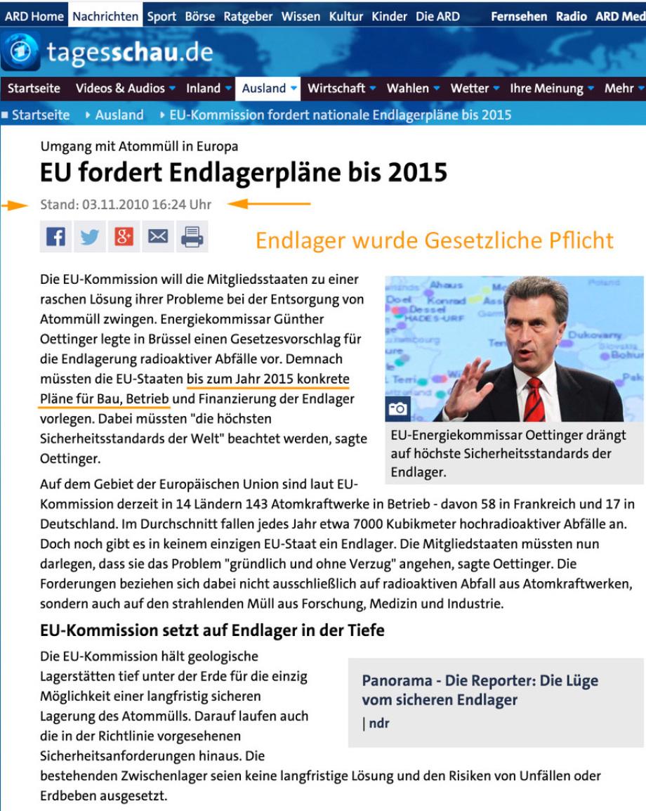 Endlager wurde in 2011 gesetzliche Pflicht EURATOM Gesetz