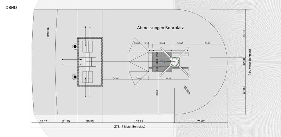Abmessungen Bohrplatz DBHD Endlager Mecklenburg-Vorpommern