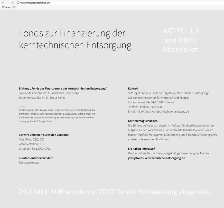24,1 Mrd. EUR im Fonds für die Endlagerung DBHD und ART-TEL