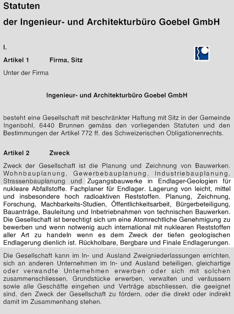 Auszug aus den Statuten, der Satzung der GmbH nach Schweizer Recht