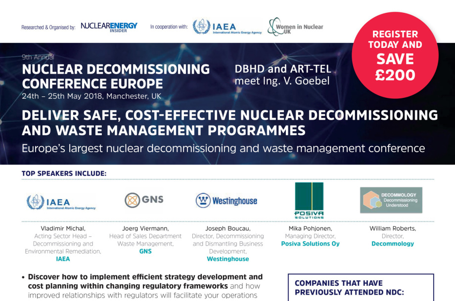 9th Annual DBHD NUCLEAR DECOMMISSIONING CONFERENCE EUROPE 24th – 25th May 2018, Manchester, UK