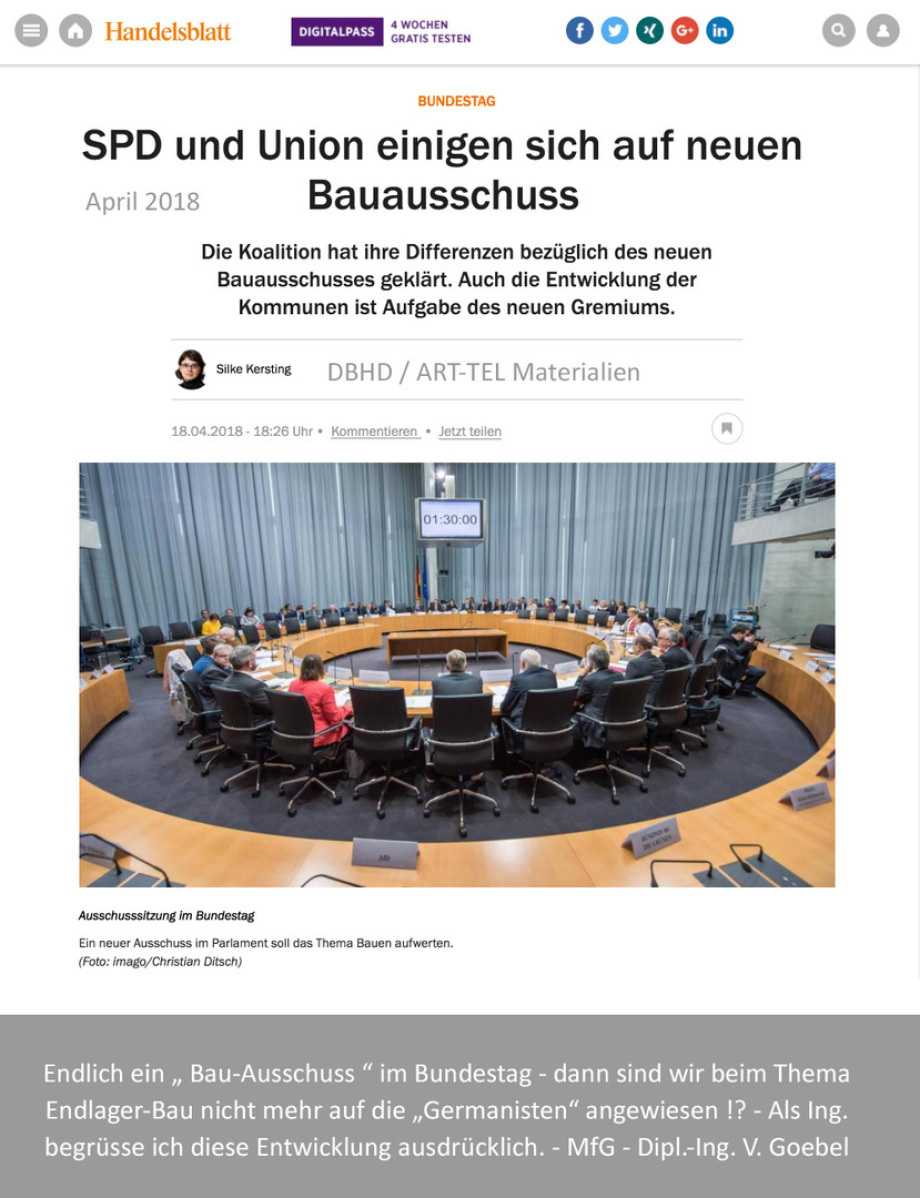 Bauausschuss im 19. Bundestag - sehr gut ...