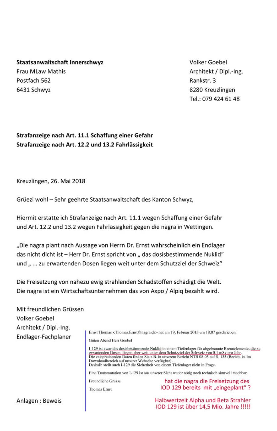 Strafanzeige_01_nagra Wettingen_Staatsanwaltschaft des Kanton Schwyz Volker Goebel