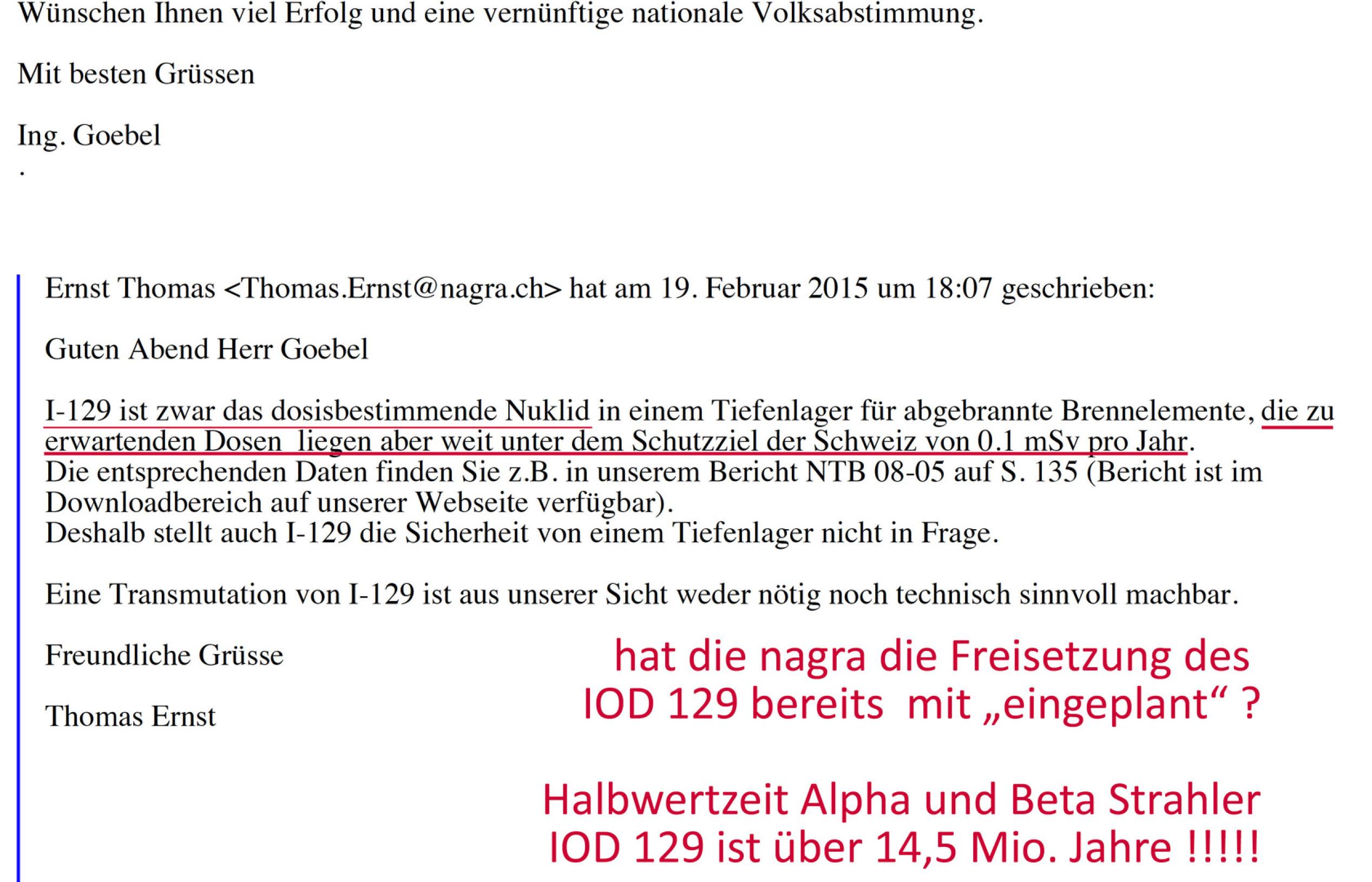 Thomas Ernst nagra Wettingen - plant eine Freisetzung von IOD 129 aus undichtem Tiefenlager